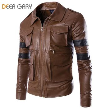 Men Brand Fashion England Style Leather Jacket Men Coat Multi-pocket Design Men Zipper Motorcycle Jacket Solid Coat