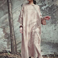 Cotton Linen Women Vintage Maxi Dress 2016 Spring New Batwing Sleeeve Pullover Gown Original Solid Loose Plus Size Casual Dress