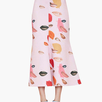 Light Pink Lip Print Fishtail Midi Skirt