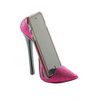 Sparkly Pink High Fashion Pointed Toe Sky High Heel Shoe Phone Holder