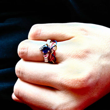 Braided Wire Ring- Customizable Tri-color