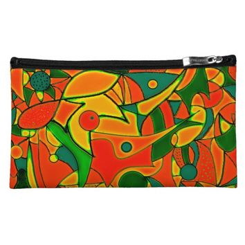 Color Jungle Red Inspiration Cosmetic Bag