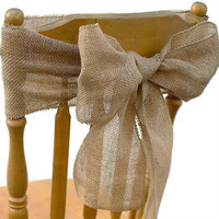 Burlap Chair Sash Bow, 7-inch, 3-yard