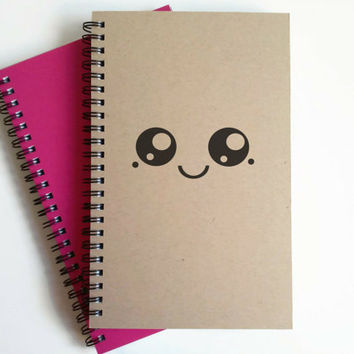 Writing journal, spiral notebook, cute diary, small sketchbook, scrapbook, memory book, 5x8 journal - Cute Kawaii face, Japanese cartoon