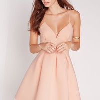Missguided - Scuba Plunge Skater Dress Nude
