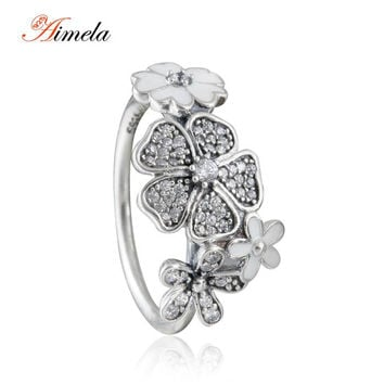 Shimmering Bouquet Rings For Women 2016 Spring New 925-Sterling-Silver AAA CZ Pave Flower Wedding Rings Brand Fine Jewelry
