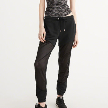 Womens Mesh Piece Sweatpants | Womens Bottoms | Abercrombie.com