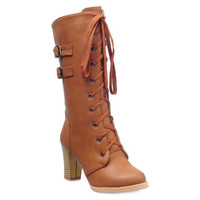 Brown Mid-Calf Boots With Lace-Up and Buckle Straps