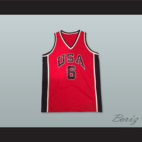 Patrick Ewing 6 USA Team Red Basketball Jersey
