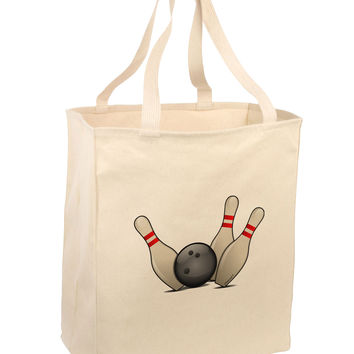 Bowling Ball with Pins Large Grocery Tote Bag