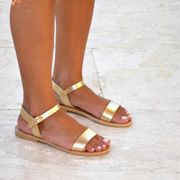 Sandals,Gold Leather Sandals, Ankle strap leather sandals, Handmade greek sandals for women