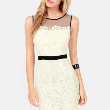 Darling Pearl Black and Ivory Lace Dress