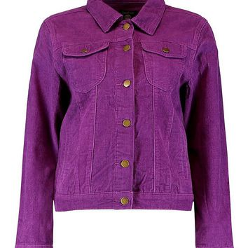 Cord Purple Denim Jacket | Boohoo
