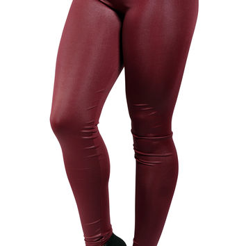 Dark Red Faux Leather High Waist Leggings Design 411