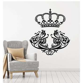 Vinyl Wall Decal King Crown Birds Ornament Vintage Style Stickers Mural (g1450)