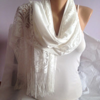 Cream Shawl - White Long Scarf - Lace Scarf Shawl - Wedding Scarf - Bridesmaid Scarf Gift - Wedding Accessories - Scarf - Scarves
