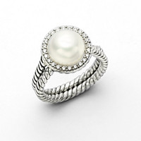 White Pearl, Diamond & Sterling Silver Ring