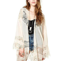 Beige Long Sleeve Chiffon Cover Up