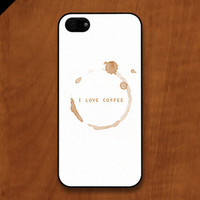 iPhone 5 case - I LOVE COFFEE // coffee stain  - also available in iPhone 4 and iPhone 4S size