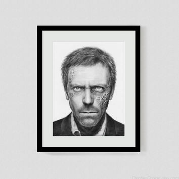 House MD Hugh Laurie, Giclee Fine Art Print, Illustraion, 8x10