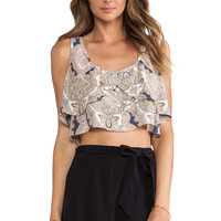 BCBGeneration Flowy Button Up Top in Gray