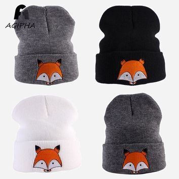 Winter Warm Fox Embroidery Pattern Kids Knitted Hats Boys Girls Lovely Knitting Caps Children Age 1 to 3 Years Old Type MY01