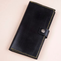 Long leather wallet with zipper coin pocket (stylish modern purse from full grain vegetable tanned leather)