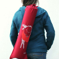 Wine red French bread bag 'KusKat', yoga mat bag, gym bag, beach bag reusable multifunctional