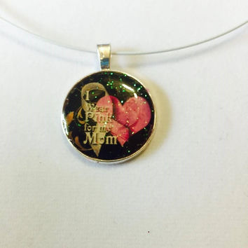 Breast Cancer Mom Necklace Handmade