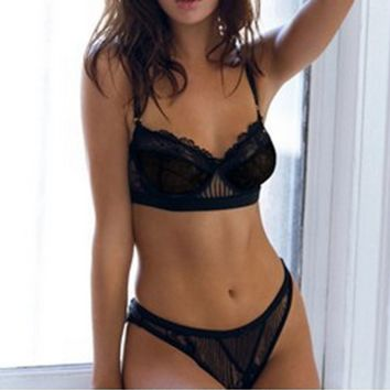 Fashion frivolous lace underwear lingerie suit no rims sexy bra black