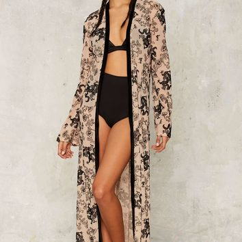 Jaded London Flock Prints Kimono Jacket