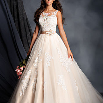 Alfred Angelo 2508 Illusion Neckline Lace Ball Gown Wedding Dress