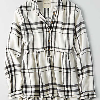 AEO Ahh-mazingly Soft Plaid Babydoll Shirt, Cream