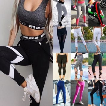 Women Patchwork Elastic  Fitness Compression Sports Gym Leggings
