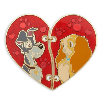 Licensed cool Lady and the Tramp Broken Heart 2 Collector Pin Set Authentic Disney Store NEW