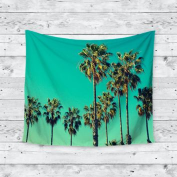 """West Coast Vibes"" Palm Tree Blue Sky Trendy Boho Wall Tapestry"