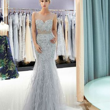 Sexy Prom Dresses Beaded Crystal Sheer Neck Transparent Mermaid Feather Evening Gowns Long Formal