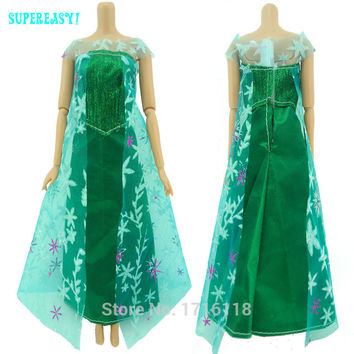 Fairy Tale Princess Dress Copy Elsa Ice Queen Let It Go Cartoon Wedding Gown Party Outfit