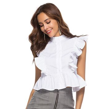 Elegant ruffles White blouse Women stand neck shirts Summer Sleeveless office lady Tops streetwear blusas mujer de moda New