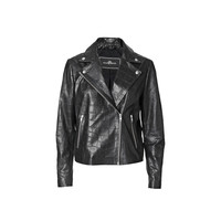 Gisellas croco-embossed leather jacket