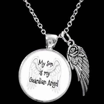 My Son Is My Guardian Angel Wing In Memory Sympathy Gift Necklace