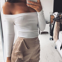 Women's Fashion Strapless Long Sleeve T-shirts [9753226063]