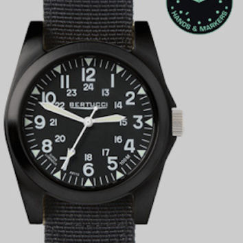 Bertucci 13350 Men's Watch A-3P Sportsman Vintage Field Black Band Black Dial