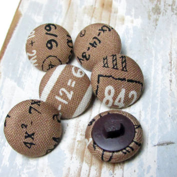 Fabric Buttons - Brown Fabric Covered Buttons - Mathematics Elementary Numbers - Sew Buttons