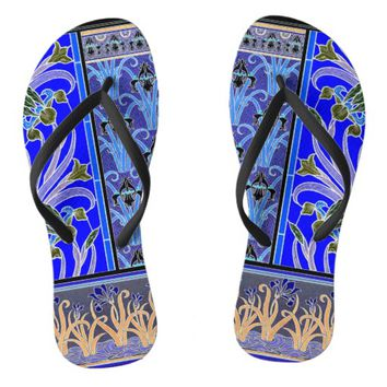 Art nouveau black and purple iris print flipflop