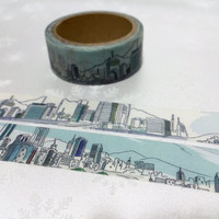 city view cityscape Washi Tape 5M x 1.5cm Skyline City scenes city landscape city scenes masking tape skyscraper buildings sticker tape