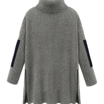 { 2 Colors } Turtleneck Loose Fit Zip Up Sweater