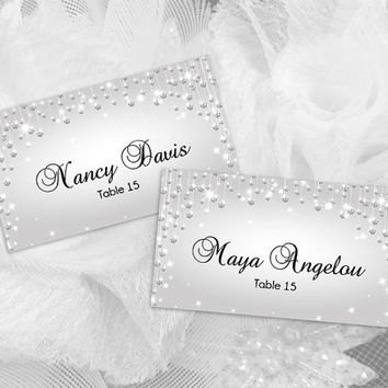 DIY Printable Wedding Place Name Card Template | Editable MS Word file | 3.5 x 2 | Instant Download | Silver Diamond Shower