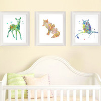 Woodland Nursery, Baby Shower Gift, Watercolor Nursery, Animal Nursery, Baby Nursery Art, Nursery Wall Art, Fawn, Fox, Owl, Animals