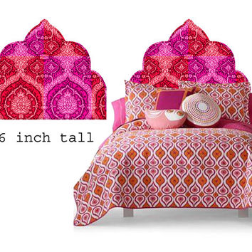 Wall Decal Headboard - Moroccan Nights - Red and Pink - TWIN - Lite version - A great Dorm Room idea !